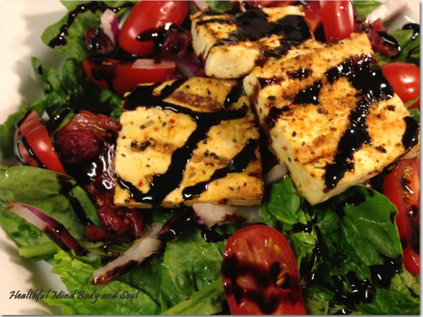Grilled Tofu and Spinach Salad