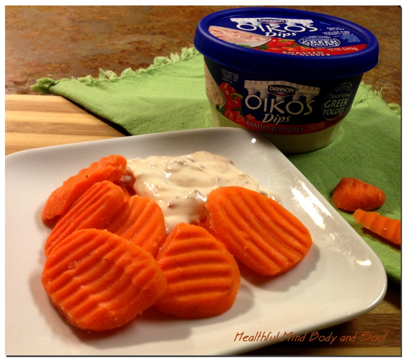 Oikos Dip with Carrot Chips